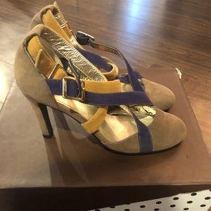 SCHU Yellow Blue Cream side high heel shoes